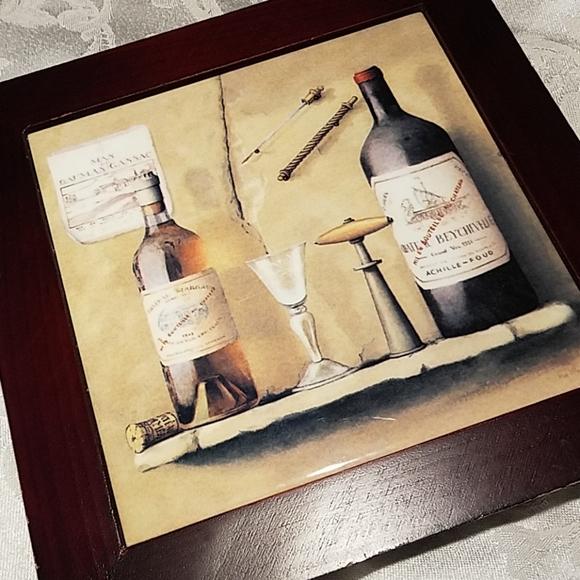Other - Wood and Ceramic Tile Trivet Wine Bottle Decor